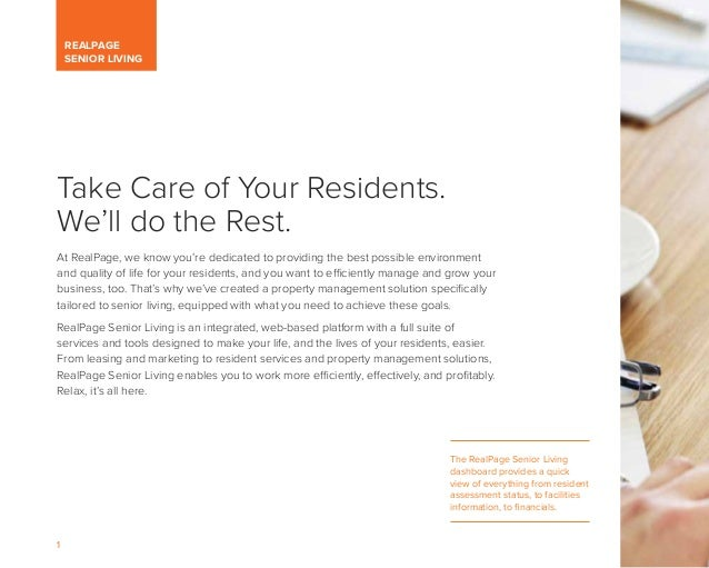 RealPage Brochure for Senior Living, Featuring Senior Housing Property Management Software Slide 2