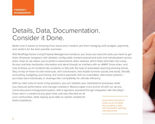 5 PROPERTY MANAGEMENT Details, Data, Documentation. Consider it Done. Better care is based on knowing more about each resi...