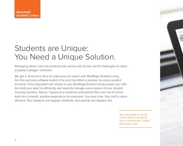 RealPage Brochure for Student Living, Featuring Student Housing Property Management Software Slide 2