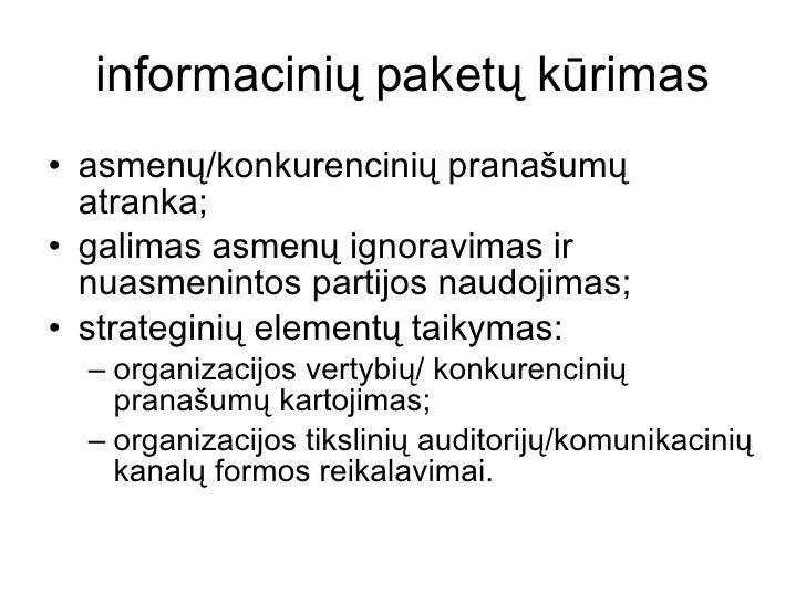 informacinių paketų kūrimas <ul><li>asmenų/konkurencinių pranašumų atranka; </li></ul><ul><li>galimas asmenų ignoravimas i...