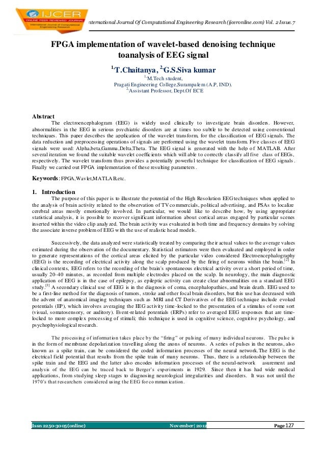 I nternational Journal Of Computational Engineering Research (ijceronline.com) Vol. 2 Issue. 7        FPGA implementation ...