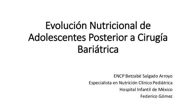 Evolución Nutricional de Adolescentes Posterior a Cirugía Bariátrica ENCP Betzabé Salgado Arroyo Especialista en Nutrición...