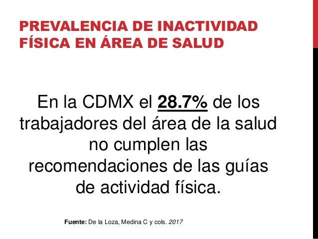 PREVALENCIA DE INACTIVIDAD FÍSICA EN ÁREA DE SALUD En la CDMX el 28.7% de los trabajadores del área de la salud no cumplen...