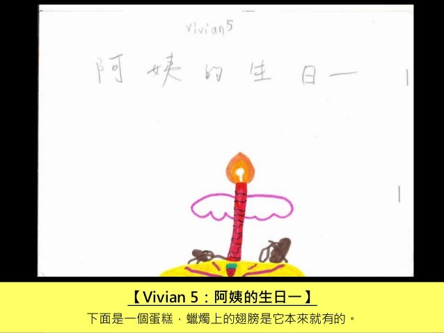 【Vivian 5:阿姨的生日一】 下面是一個蛋糕,蠟燭上的翅膀是它本來就有的。