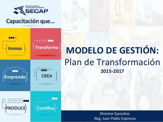 DirectorEjecu,vo Abg.JuanPabloEspinosa MODELODEGESTIÓN: PlandeTransformación 2015-2017