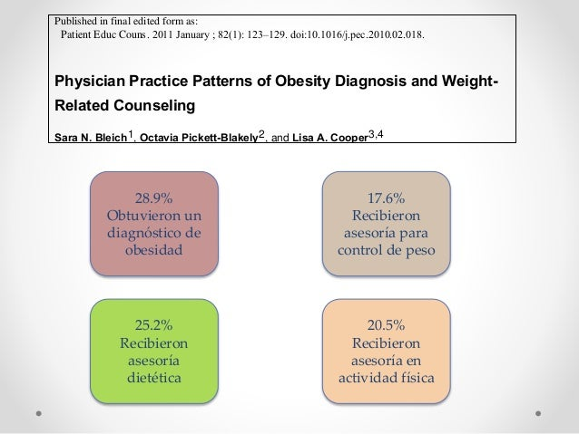 Physician Practice Patterns of Obesity Diagnosis and Weight- Related Counseling Sara N. Bleich1, Octavia Pickett-Blakely2,...