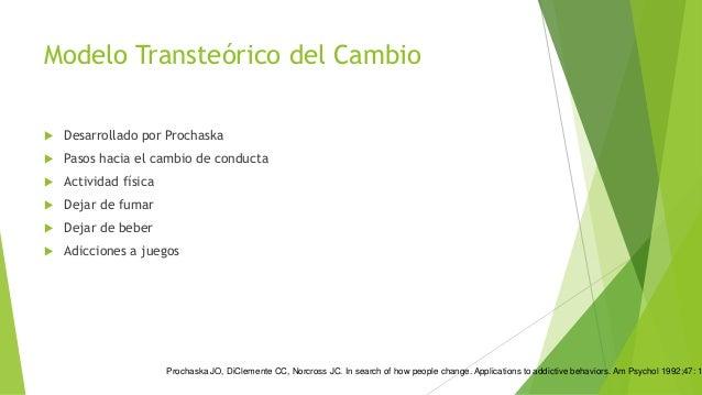 Modelo Transteórico del Cambio Precontemplación Contemplación Preparación Acción Mantenimiento Finalización