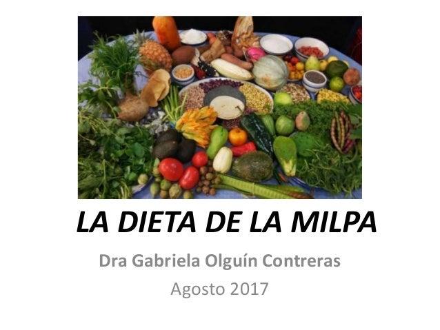 LA DIETA DE LA MILPA Dra Gabriela Olguín Contreras Agosto 2017