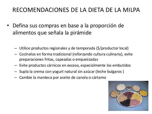 RECOMENDACIONES DE LA DIETA DE LA MILPA • El exceso en consumo de maíz (tortilla/otros), fruta y tubérculos favorece el au...