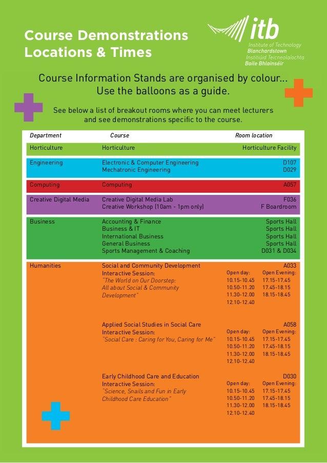 ITB Nov 2014 Open Day Schedule