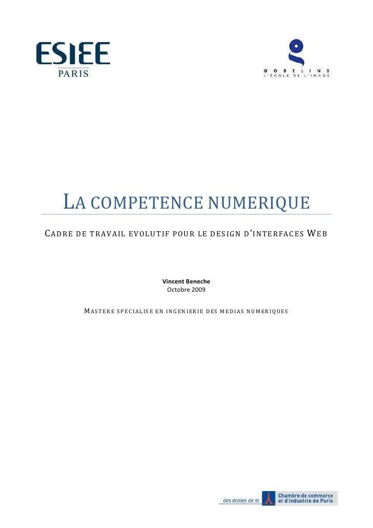 LA COMPETENCE NUMERIQUE C ADRE DE TRAVAIL EVOLUTIF POUR LE DESIGN D ' INTERFACES W EB                                     ...