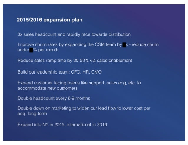 2015/2016 expansion plan  3x sales headcount and rapidly race towards distribution  Improve churn rates by expanding the C...