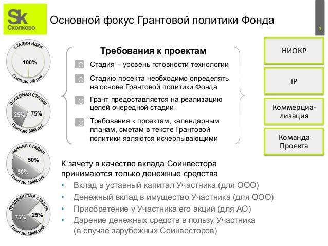 1  Основной фокус Грантовой политики Фонда  Требования к проектам  100%  25% 75%  50%  50%  75% 25%  О  Стадия – уровень г...