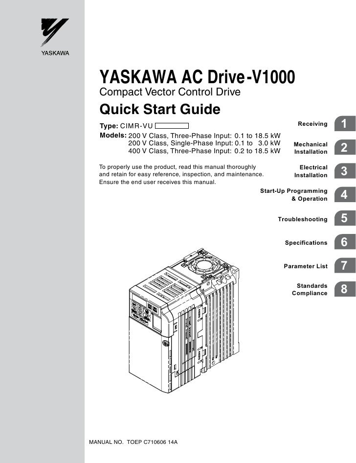 v1000 quick start manual rh slideshare net Yaskawa E7 Wiring Yaskawa P7 Wiring