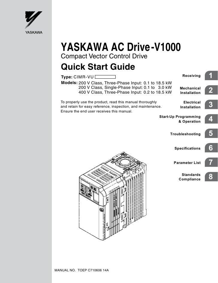 v1000 quick start manual rh slideshare net Yaskawa Drives Yaskawa Drives