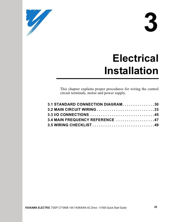 v1000 quick start manual installation this chapter explains proper procedures for wiring the control circuit terminals motor and power supply 3 1 standard connection diagram