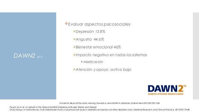 DAWN2 2013 Evaluar aspectos psicosociales Depresión 13.8% Angustia 44.6% Bienestar emocional 46% Impacto negativo en ...