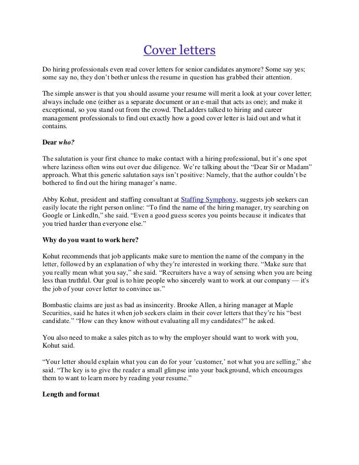 cover lettersdo - What Should A Good Cover Letter Include