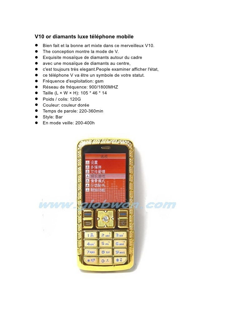V10 or diamants luxe téléphone mobile Bien fait et la bonne art mixte dans ce merveilleux V10. The conception montre l...