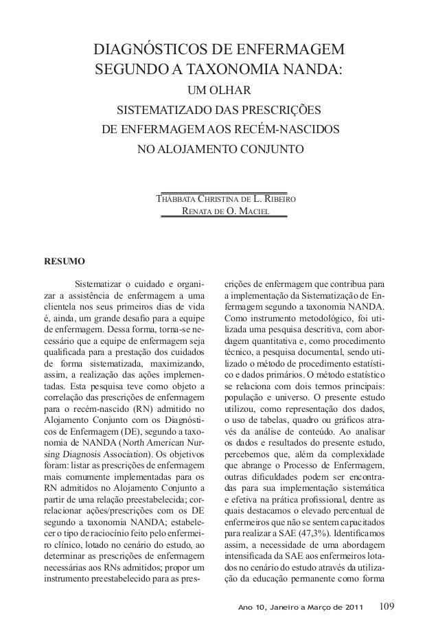 DIAGNÓSTICOS DE ENFERMAGEM             SEGUNDO A TAXONOMIA NANDA:                                        UM OLHAR         ...