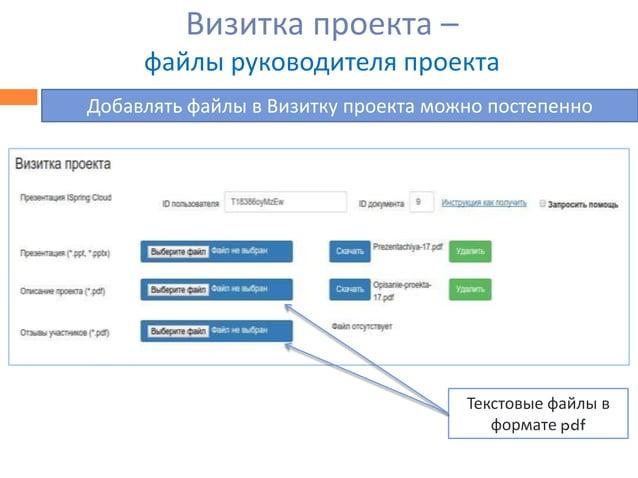 Визитка проекта – файлы руководителя проекта Добавлять файлы в Визитку проекта можно постепенно Текстовые файлы в формате ...