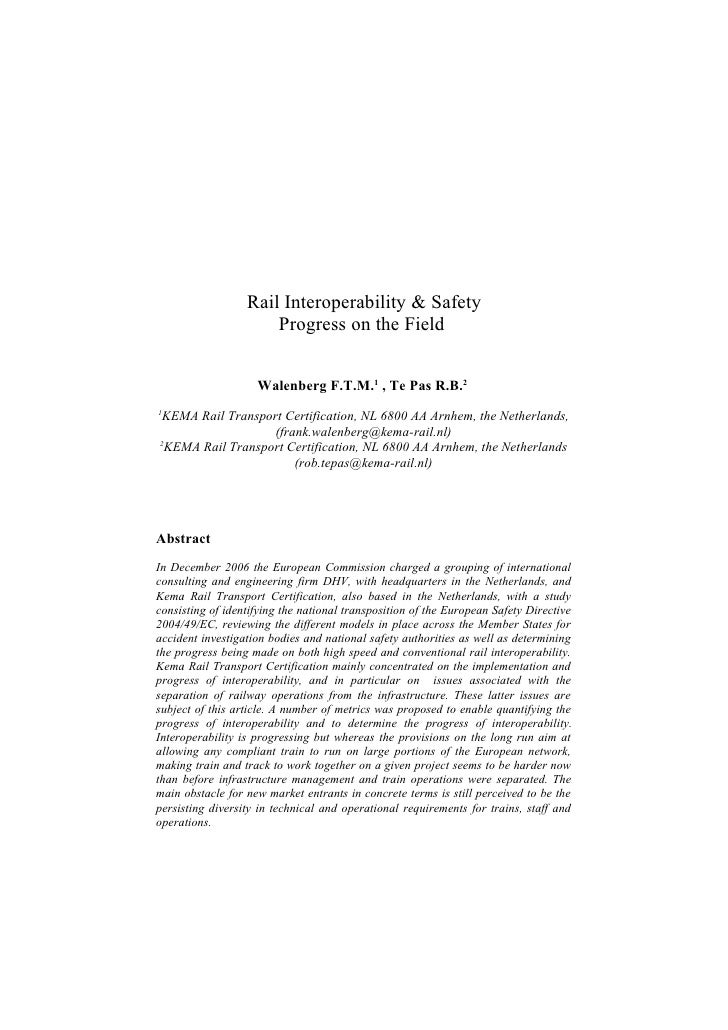 Rail Interoperability & Safety                       Progress on the Field                       Walenberg F.T.M.1 , Te Pa...