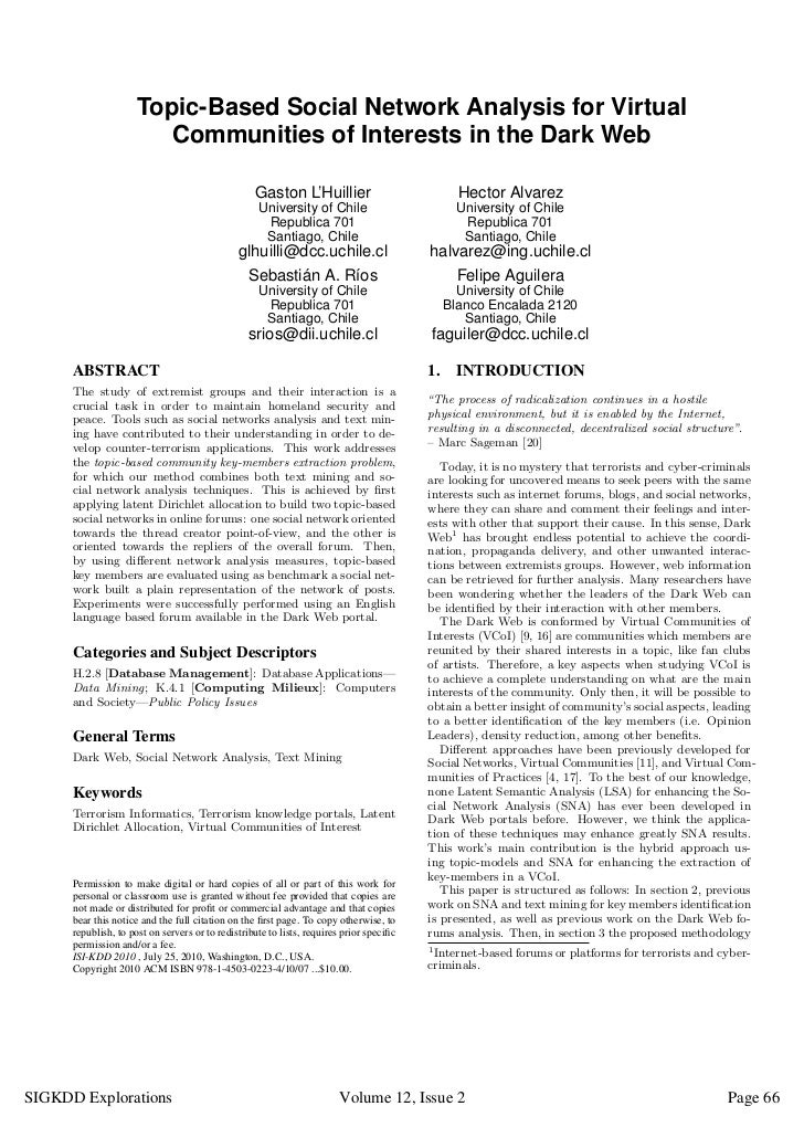 Topic-Based Social Network Analysis for Virtual                         Communities of Interests in the Dark Web          ...