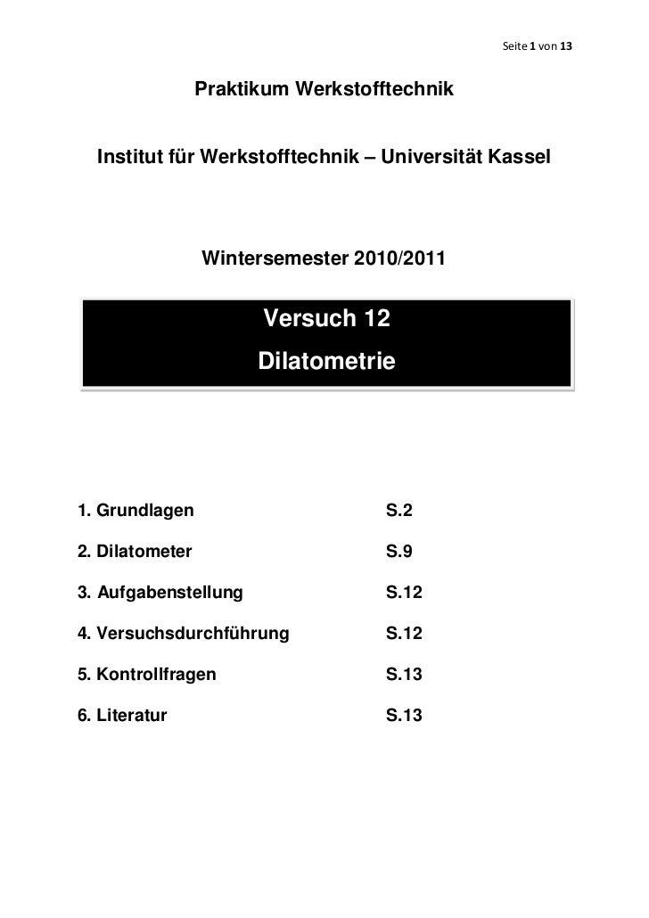 Seite 1 von 13                 Praktikum Werkstofftechnik  Institut für Werkstofftechnik – Universität Kassel             ...