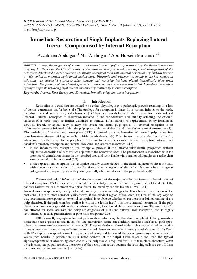 IOSR Journal of Dental and Medical Sciences (IOSR-JDMS) e-ISSN: 2279-0853, p-ISSN: 2279-0861.Volume 16, Issue 5 Ver. III (...