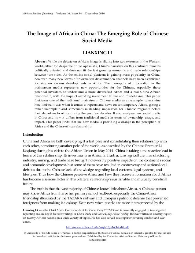 African Studies Quarterly   Volume 16, Issue 3-4   December 2016 Lianxing Li was the Chief Africa Correspondent for China ...