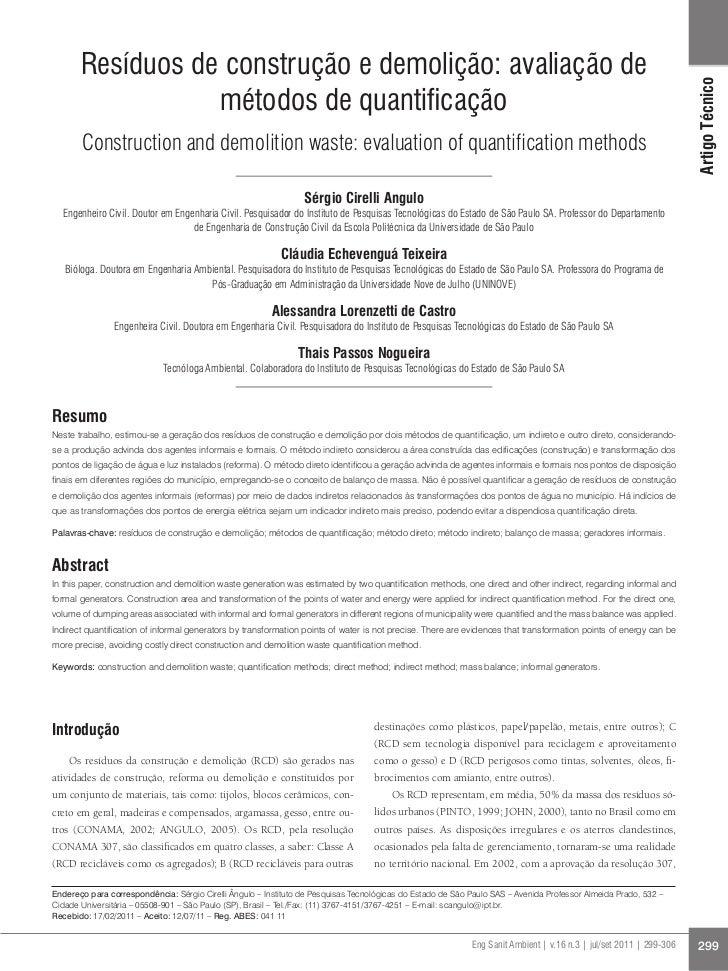 Resíduos de construção e demolição: avaliação de                                                                          ...