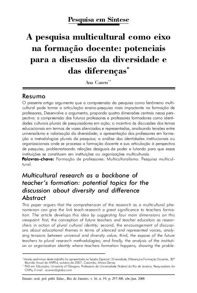 Pesquisa em Síntese  A pesquisa multicultural como eixo  na formação docente: potenciais  para a discussão da diversidade ...