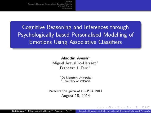Context Towards Dynamic Personalised Emotion Models Critical Review Conclusion Cognitive Reasoning and Inferences through ...