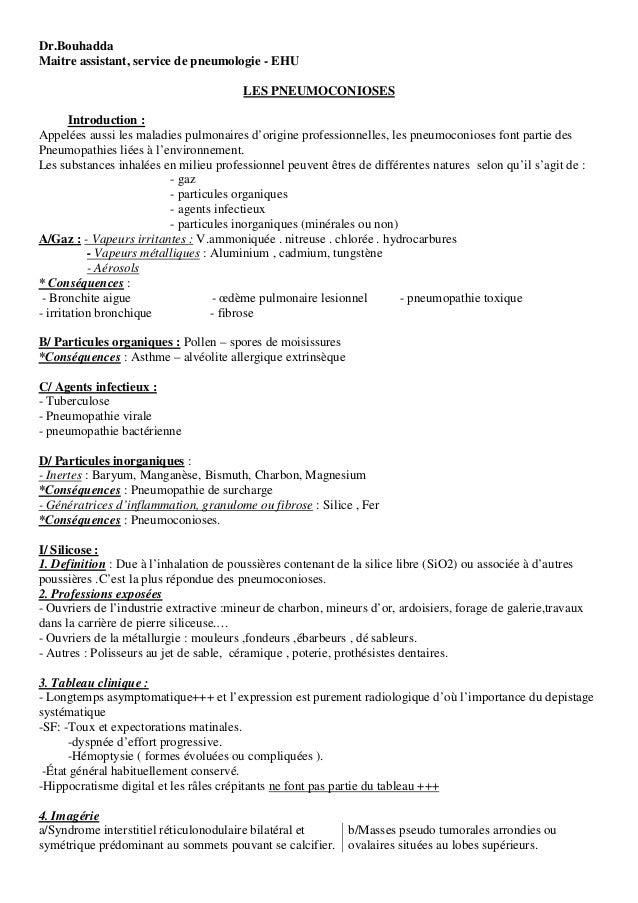 Dr.Bouhadda Maitre assistant, service de pneumologie - EHU LES PNEUMOCONIOSES Introduction : Appelées aussi les maladies p...