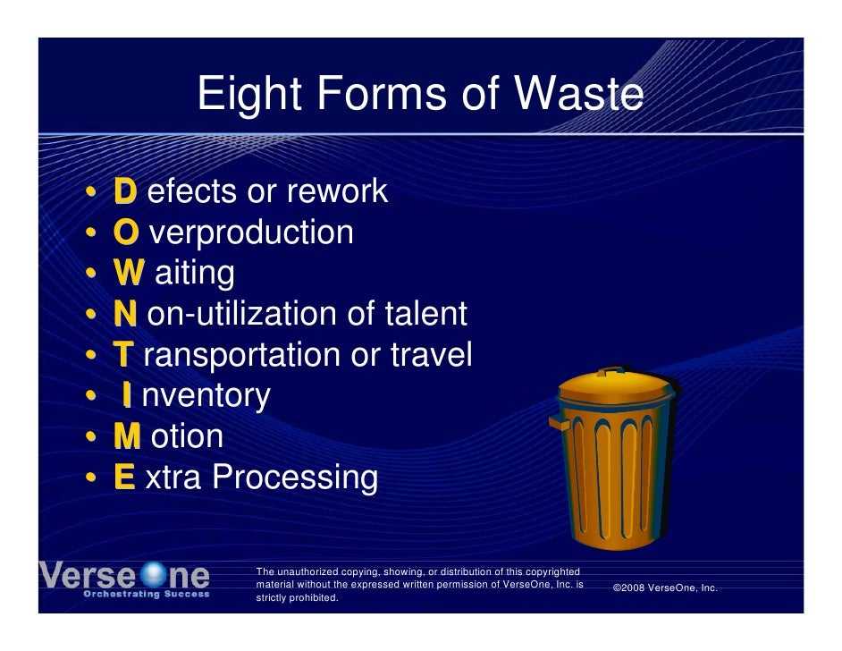 Eight Forms of Waste •   D efects or rework •   O verproduction •   W aiting •   N on-utilization of talent •   T ransport...