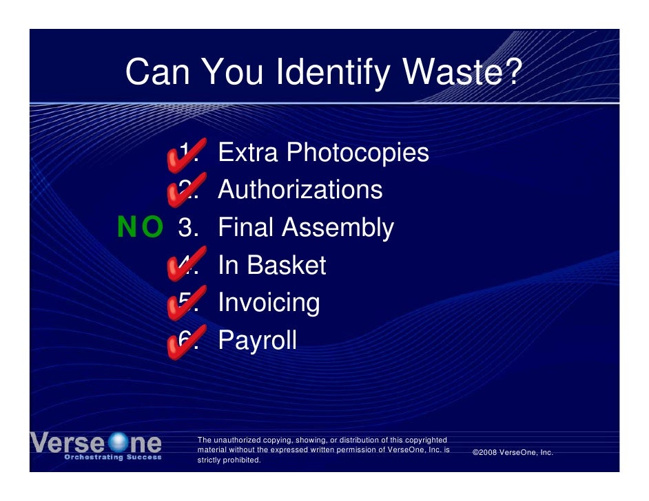 Can You Identify Waste?     1.    Extra Photocopies    2.    Authorizations NO 3.    Final Assembly    4.    In Basket    ...