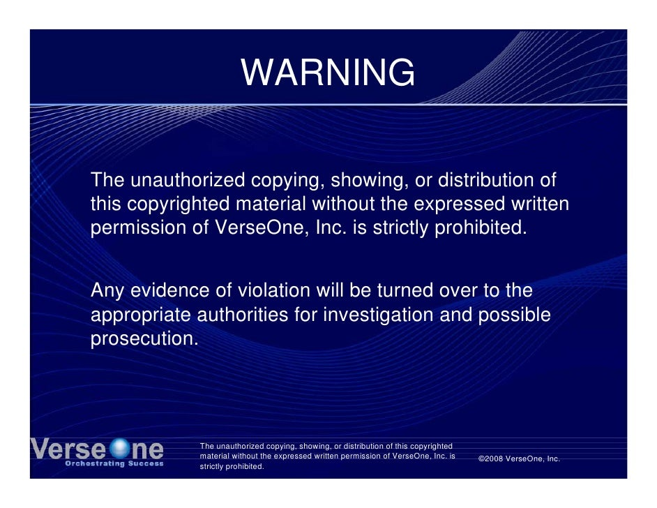 WARNING  The unauthorized copying, showing, or distribution of this copyrighted material without the expressed written per...