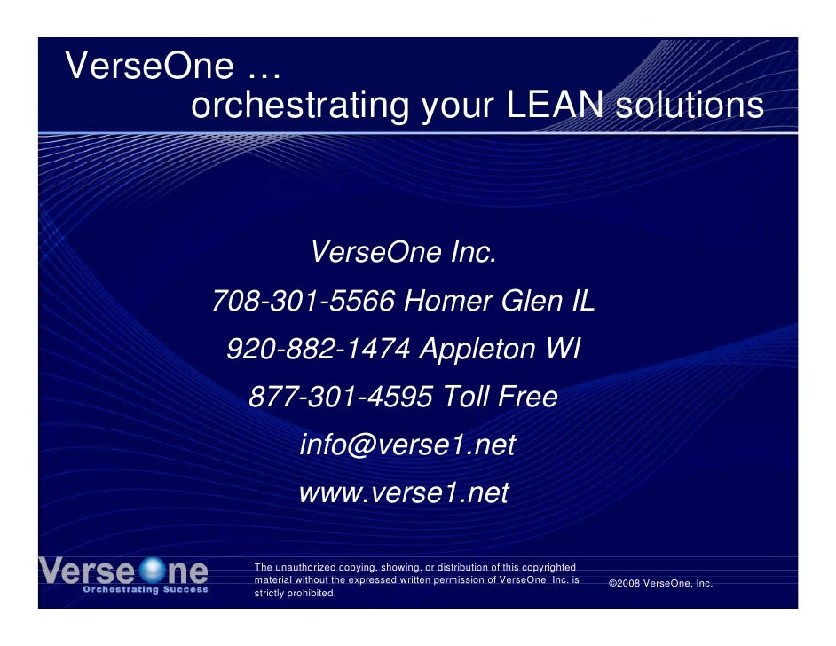 VerseOne …       orchestrating your LEAN solutions                         VerseOne Inc.         708-301-5566 Homer Glen I...