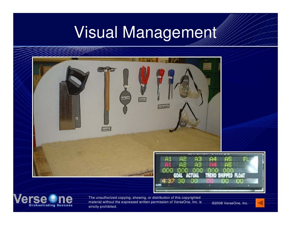 Visual Management      The unauthorized copying, showing, or distribution of this copyrighted  material without the expres...