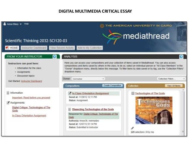Creative space:• Student Blogs• Media Prompts• Final E-portfolio