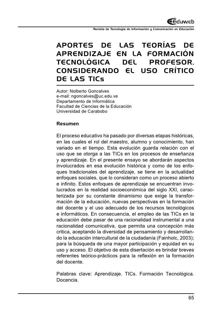 Revista de Tecnología de Información y Comunicación en EducaciónAPORTES DE LAS TEORÍAS DEAPRENDIZAJE EN LA FORMACIÓNTECNOL...