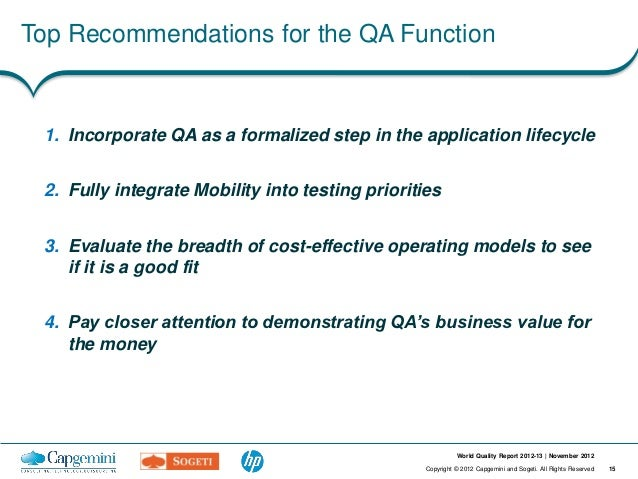 Top Recommendations for the QA Function 1. Incorporate QA as a formalized step in the application lifecycle 2. Fully integ...