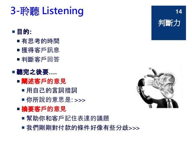 3-聆聽 Listening  目的:  有思考的時間  獲得客戶訊息  判斷客戶回答  聽完之後要….  闡述客戶的意見  用自己的言詞措詞  你所說的意思是: >>>  摘要客戶的意見  幫助你和客戶記住表達的議題  ...
