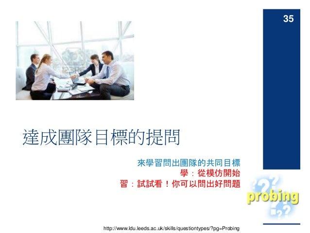 來學習問出團隊的共同目標 學:從模仿開始 習:試試看!你可以問出好問題 達成團隊目標的提問 http://www.ldu.leeds.ac.uk/skills/questiontypes/?pg=Probing 35
