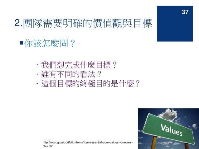 2.團隊需要明確的價值觀與目標 你該怎麼問? .我們想完成什麼目標? .誰有不同的看法? .這個目標的終極目的是什麼? http://wccog.ca/portfolio-items/four-essential-core-values-fo...