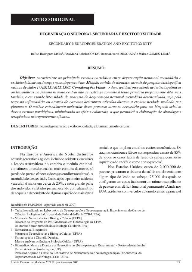 ARTIGO ORIGINAL                       DEGENERAÇÃO NEURONAL SECUNDÁRIA E EXCITOTOXICIDADE                               SEC...