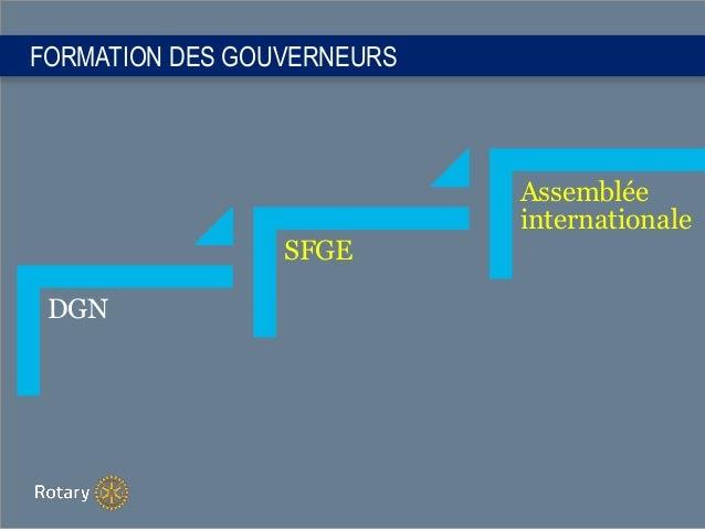 FORMATION DES GOUVERNEURS DGN SFGE Assemblée internationale