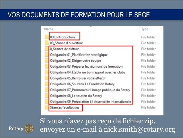 VOS DOCUMENTS DE FORMATION POUR LE SFGE Si vous n'avez pas reçu de fichier zip, envoyez un e-mail à nick.smith@rotary.org