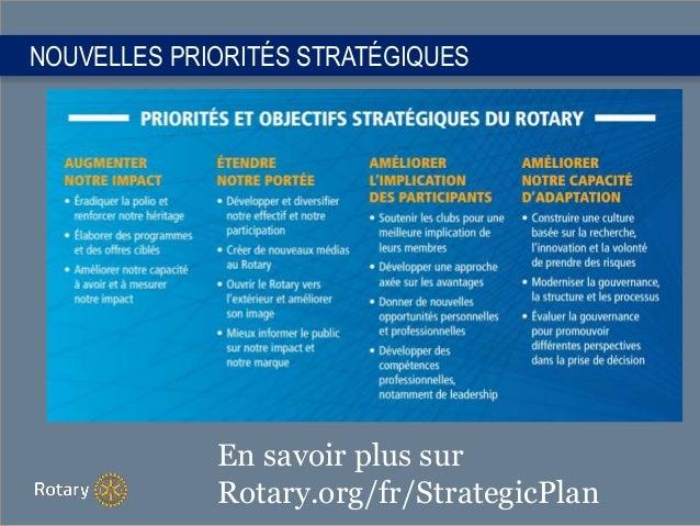 NOUVELLES PRIORITÉS STRATÉGIQUES En savoir plus sur Rotary.org/fr/StrategicPlan