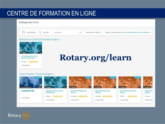 CENTRE DE FORMATION EN LIGNE Rotary.org/learn